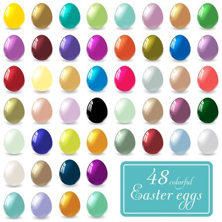 48: Set of 48 different colored Easter eggs on a white background. Illustration