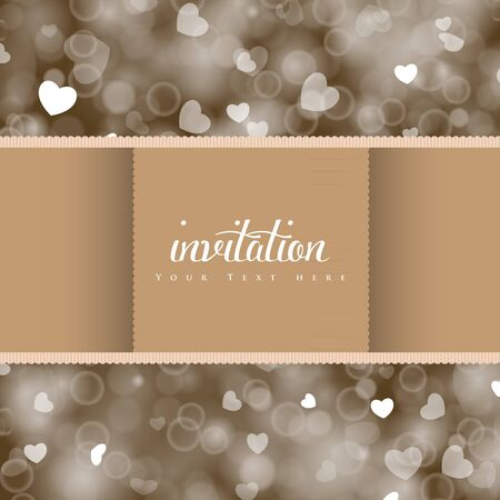 shiny hearts: Wedding card or invitation, shiny hearts bokeh light background. Perfect as invitation or announcement.