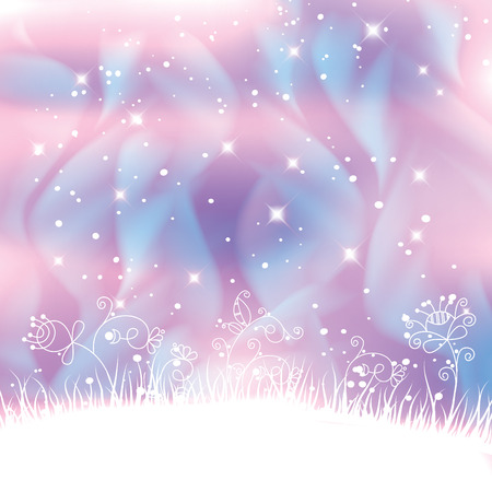 Fantasy landscape with polar lights forming blue swirls and magic flowers background.