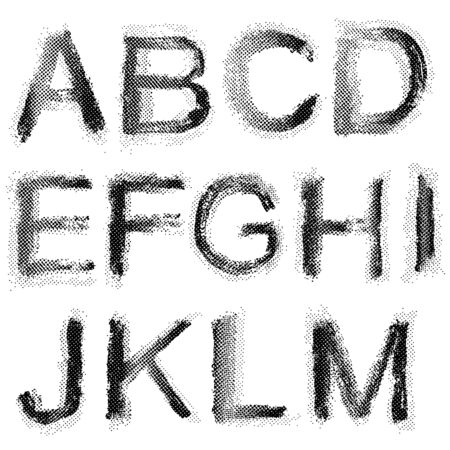 dimly: Dotted shadow raster font. Grunge shapes.
