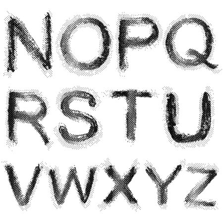darkly: Dotted shadow raster font. Grunge shapes.