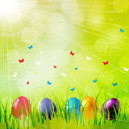 ester: Easter card with eggs on green grass. Illustration