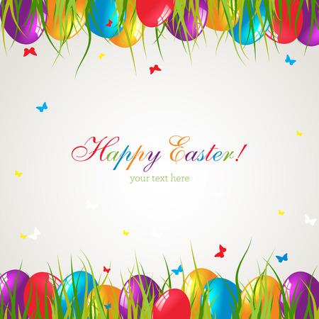 De kaart van Pasen met eieren op groen gras. Stockfoto - 37601240