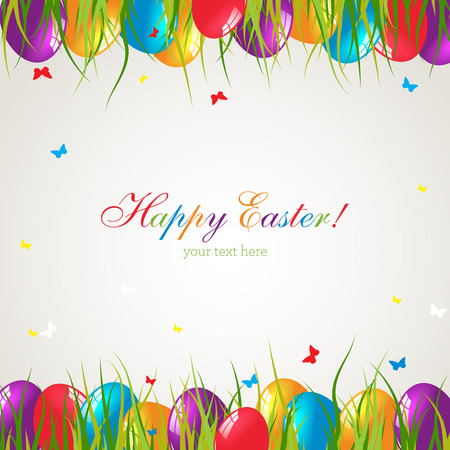 Easter card with eggs on green grass. Illustration