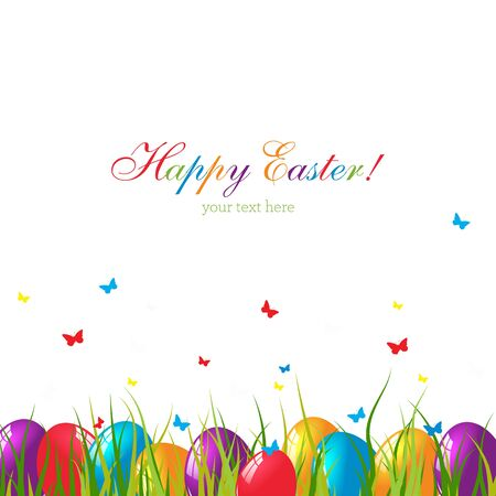 cartoon easter basket: Easter card with eggs on green grass. Illustration