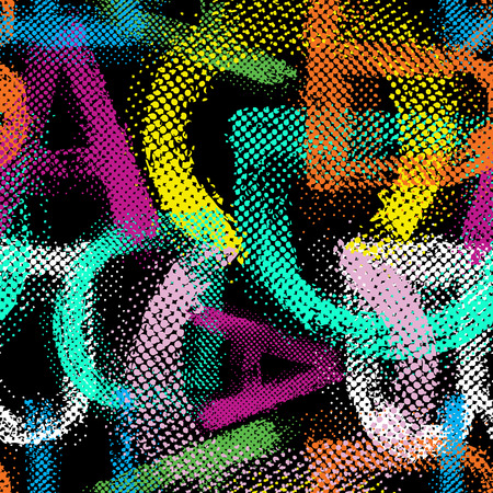 graffiti alphabet: Grunge halftone alphabet seamless background. Illustration