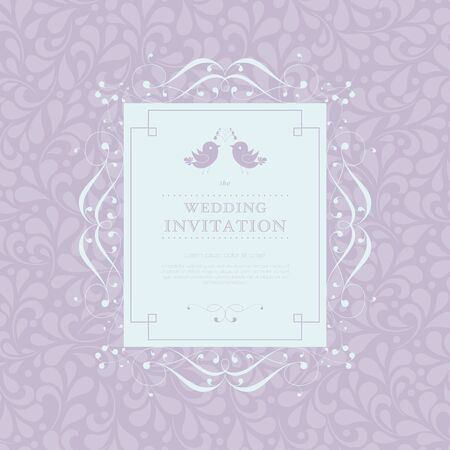 solemn: Wedding card or invitation with floral ornament background. Perfect as invitation or announcement. For vector version, see my portfolio.