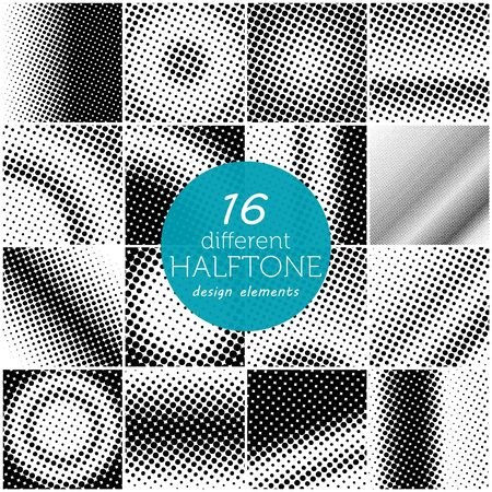halftone dots: Set of 16 different halftone dots pattern.