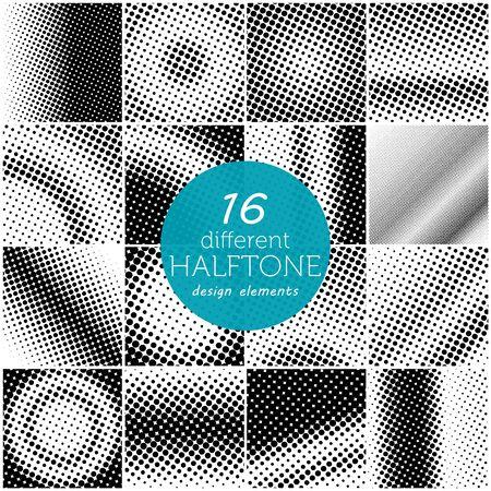 halftone pattern: Set of 16 different halftone dots pattern.