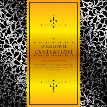gold lace: Antique greeting card, black invitation with gold lace and floral ornaments. Perfect as invitation or announcement.
