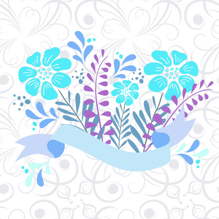 solemn: Vintage elegant wedding invitation with summer flowers.