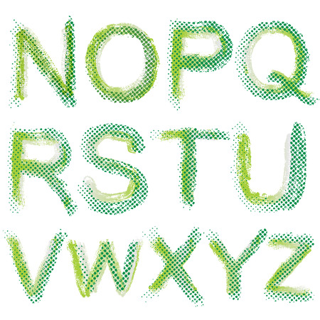 lments graphiques: Art esquiss� stylis� alphabet grunge. Points de trame alphabet. Main lettres �tabli. Les �l�ments graphiques.