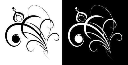 decorative element: Decorative flower design element. Illustration