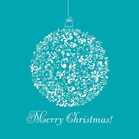 greeting christmas: Christmas ball with greeting illustration.