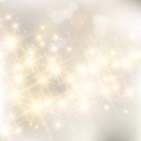 gold silver: Glittery lights silver abstract Christmas background. Illustration