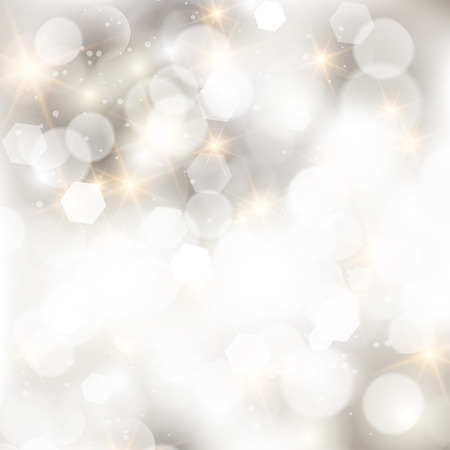 Glittery lights silver abstract Christmas background. Çizim