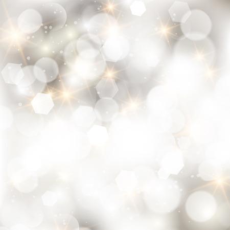navidad elegante: Reluciente luces de plata abstracto fondo de Navidad. Vectores