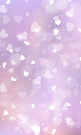 Corazón brillante sobre un fondo bokeh pálido. Fondo romántico.