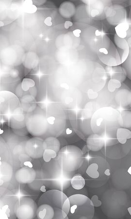 Glittery lights silver Valentines day background from hearts. Illustration