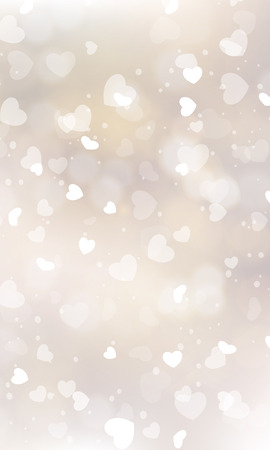 hearts background: Glittery lights silver Valentines day background from hearts. Illustration