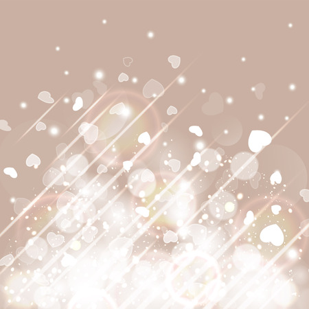 glittery: Glittery lights silver Valentines day background from hearts. Romantic background. Illustration