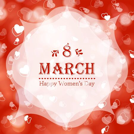 announcement: Happy Womens Day greeting card with floral decorated text 8 March. Perfect as invitation or announcement. Illustration