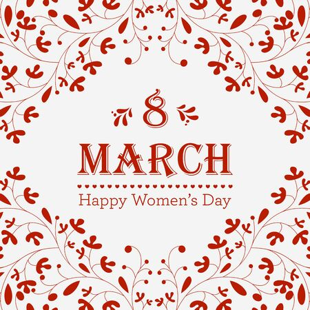 Women's health: Happy Womens Day greeting card with floral decorated text 8 March. Perfect as invitation or announcement. Illustration