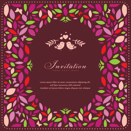 dinner date: Wedding card or invitation with abstract floral background. Perfect as invitation or announcement.