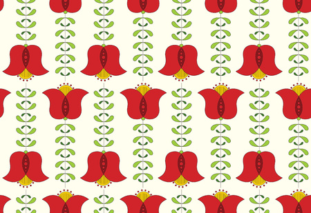 dutch tiles: Seamless floral pattern. Tulip seamless repeat tile.