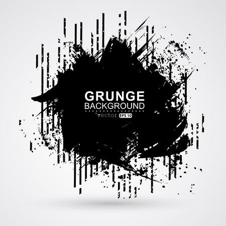 Figured brush strokes brush and ink. Black paint splattered shape. Grunge background texture.
