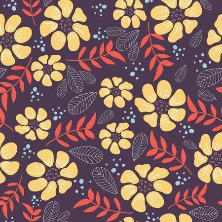 cheerfull: Seamless cute flower pattern. Illustration