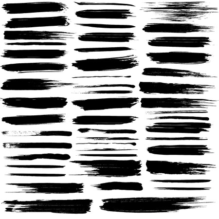 Set of grunge brush strokes Stock Illustratie