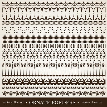 vintage patterns: Set of vintage calligraphic design elements. Editable file.