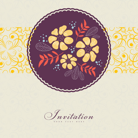 wedding border: Wedding card or invitation with floral ornament background. Perfect as invitation or announcement.