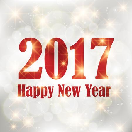 Rode Nieuwjaar 2017 kaart. Gelukkig Nieuwjaar achtergrond met gloeiend effect en sprankelende sterren textuur. Star stof vonken in explosie op zwarte achtergrond.