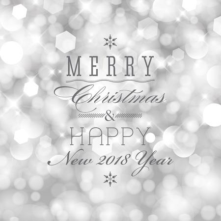 Glittery steekt zilveren abstracte Kerstmisachtergrond aan. Vrolijke Kerstmis en gelukkig nieuwjaarskaartontwerp. Perfect als uitnodiging of aankondiging.