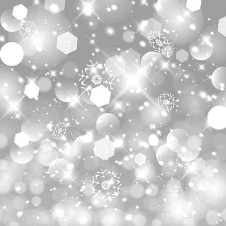 Glittery lights silver abstract Christmas background. Happy New Year card design. Illustration