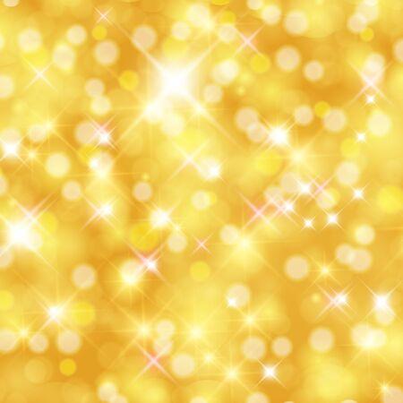 De samenvatting fonkelde heldere achtergrond met bokeh defocused gouden lichten. Stock Illustratie