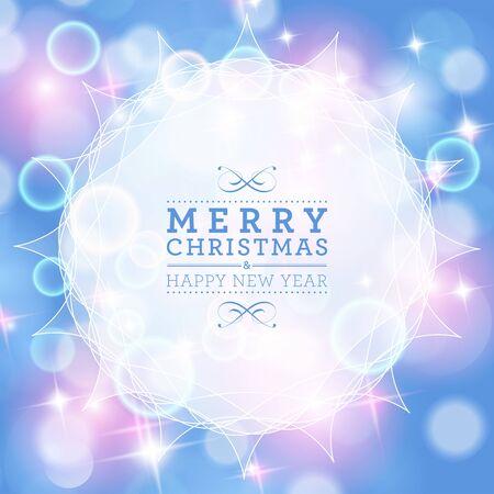 Winter bokeh achtergrond. Vrolijke Kerstmis en gelukkig nieuwjaarskaartontwerp. Stock Illustratie