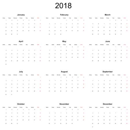 Kalender 2018 jaar eenvoudige stijl.