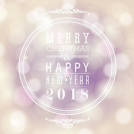Kerstmis en Nieuwjaarskaart ontwerp bokeh effect ontwerpsjabloon.