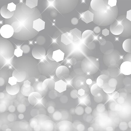 Glittery lights silver abstract Christmas background. 矢量图像