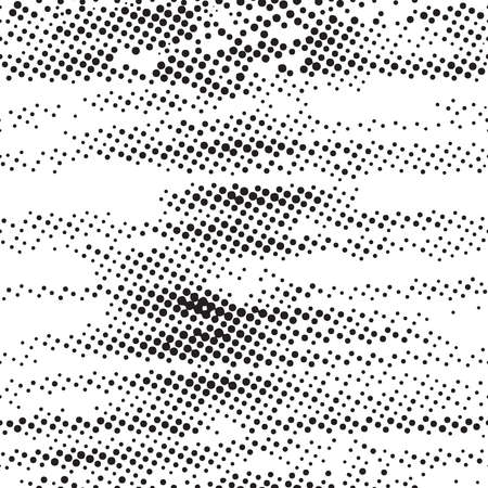 Seamless pattern. Black and white halftone dots in grunge brush style.
