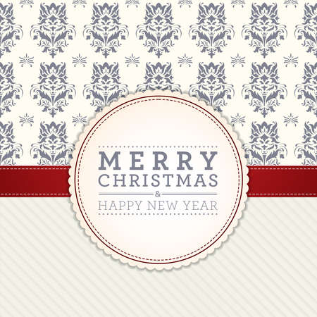 Merry Christmas and Happy New Year card design. Perfect as invitation or announcement.