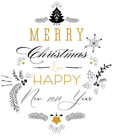 Merry Christmas lettering greeting card.