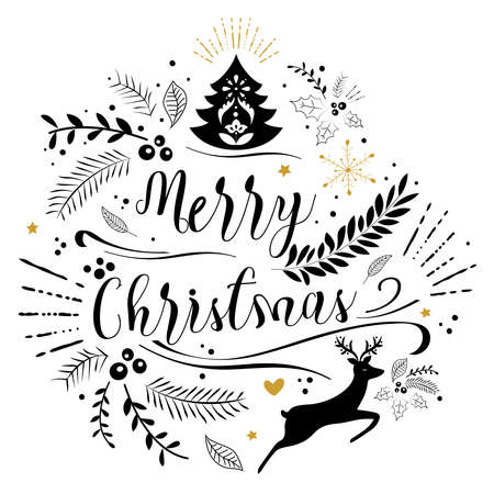 Merry Christmas lettering greeting card. Vintage ornate element with floral motifs.
