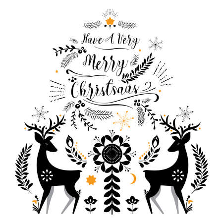 Merry Christmas lettering greeting card. Vintage ornate element with floral motifs. 矢量图像