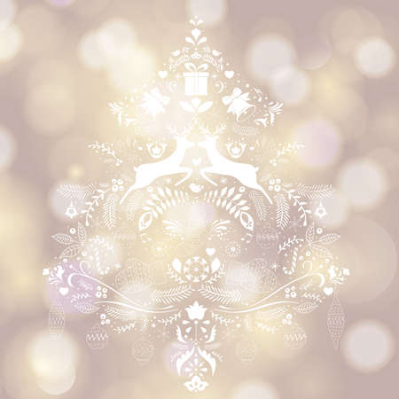 Merry Christmas lettering greeting card.Vintage ornate element with floral motifs.
