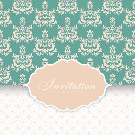 Wedding card or invitation with floral ornament background.Perfect as invitation or announcement.