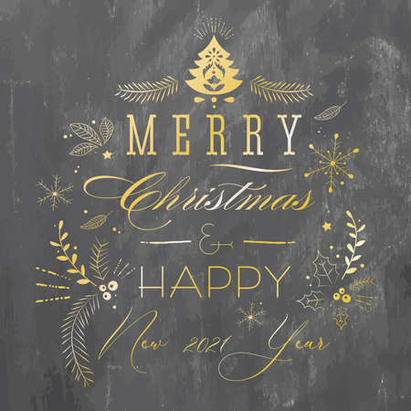 Christmas greeting card with background chalkboard.